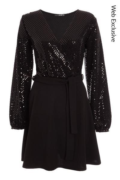 Black Sequin Wrap Long Sleeve Skater Dress